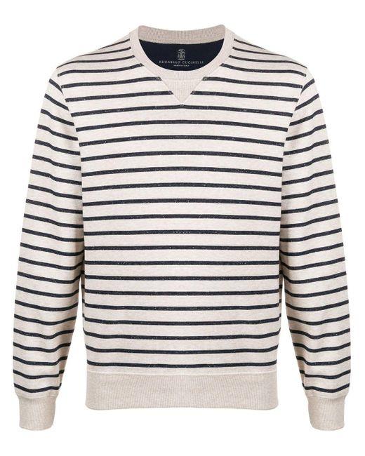 メンズ Brunello Cucinelli ストライプ スウェットシャツ Gray