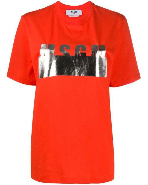MSGM メタリック ロゴ Tシャツ Orange