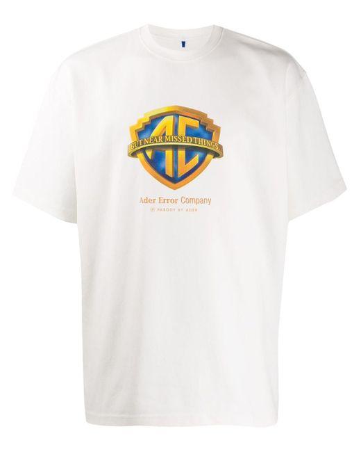 メンズ ADER ERROR Parody ロゴ Tシャツ White