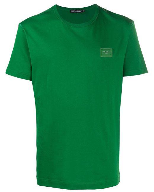 メンズ Dolce & Gabbana ロゴパッチ Tシャツ Green