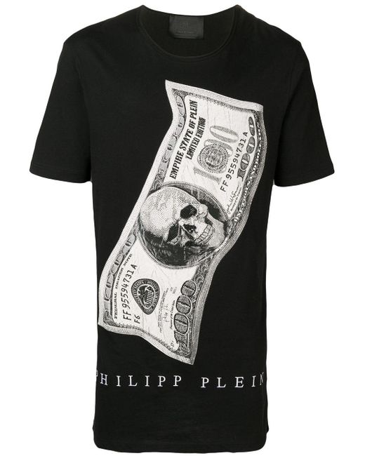 メンズ Philipp Plein Dollar ラウンドネック Tシャツ Black