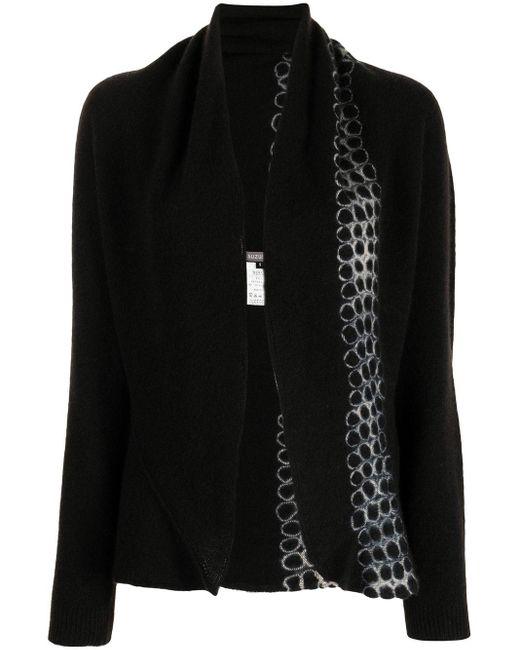 Suzusan Black Tie Dye-print Cashmere Cardigan