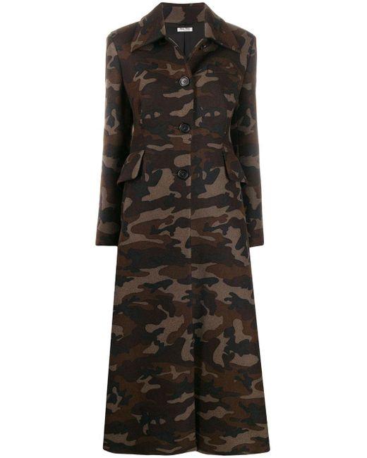 Cappotto con stampa camouflage di Miu Miu in Black