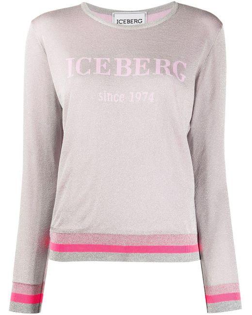 Iceberg メタリック ロゴ プルオーバー Pink