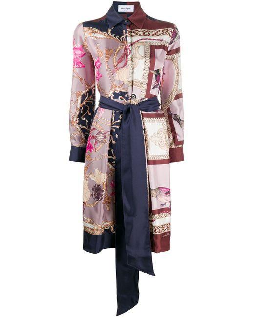 Ferragamo スカーフ プリント ドレス Pink