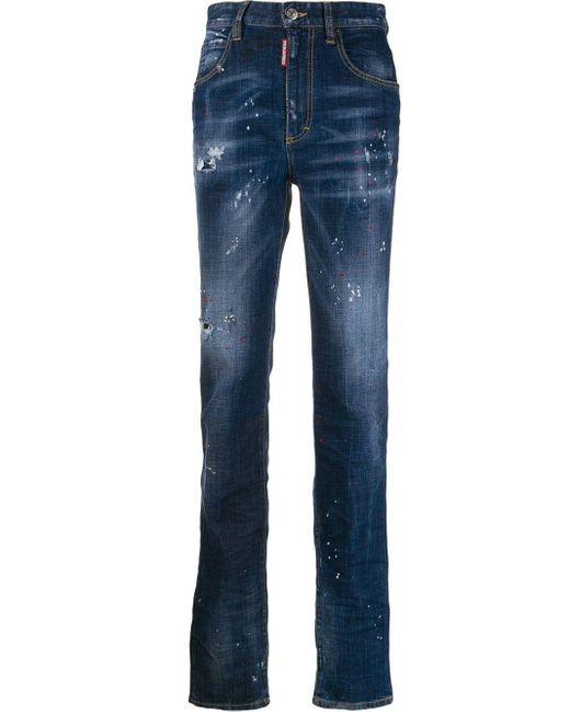 DSquared² ダメージ ストレートジーンズ Blue