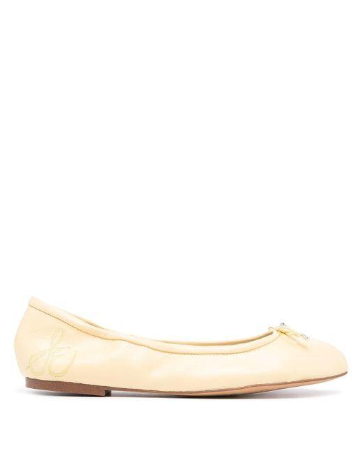 Sam Edelman Natural Felicia Bow-embellished Ballerina Flats