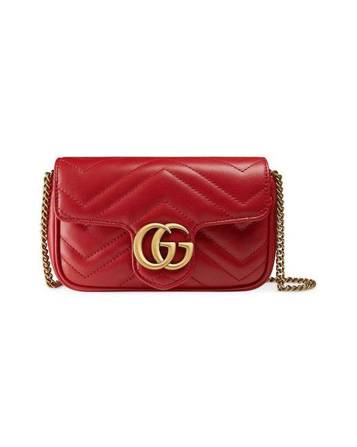 Gucci - Red Mini Borsa Gg Marmont In Pelle Matelassé - Lyst