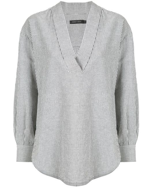 Nobody Denim ストライプ チュニックシャツ Gray