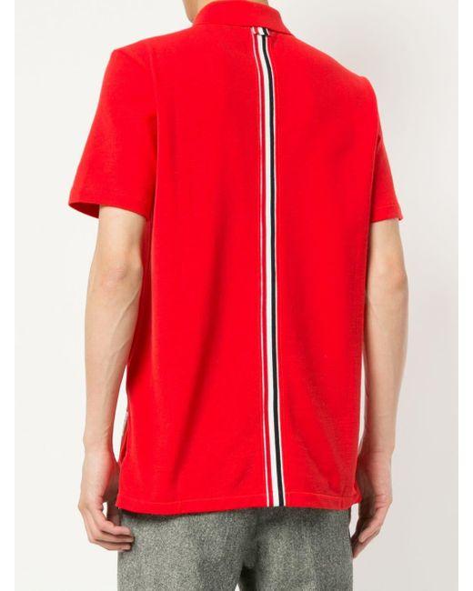 メンズ Thom Browne ストライプ ポロシャツ Red