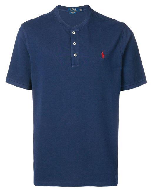 メンズ Polo Ralph Lauren ノーカラー ポロシャツ Blue