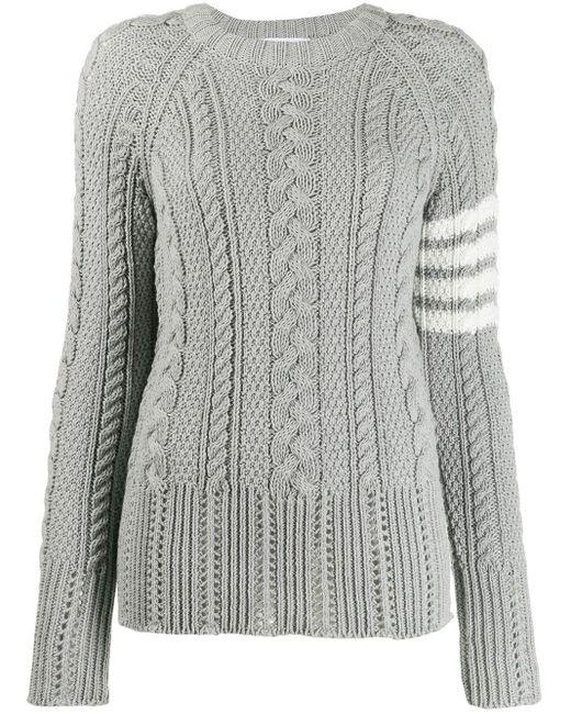 Thom Browne 4-bar Aran Knit Jumper Gray