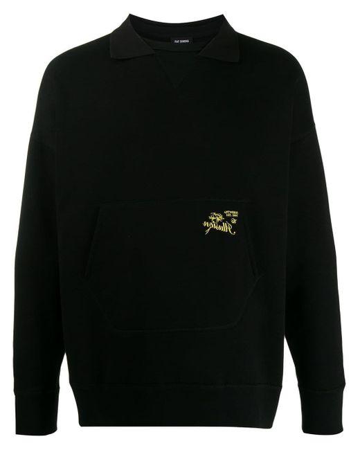 メンズ Raf Simons ポロカラースウェットシャツ Black
