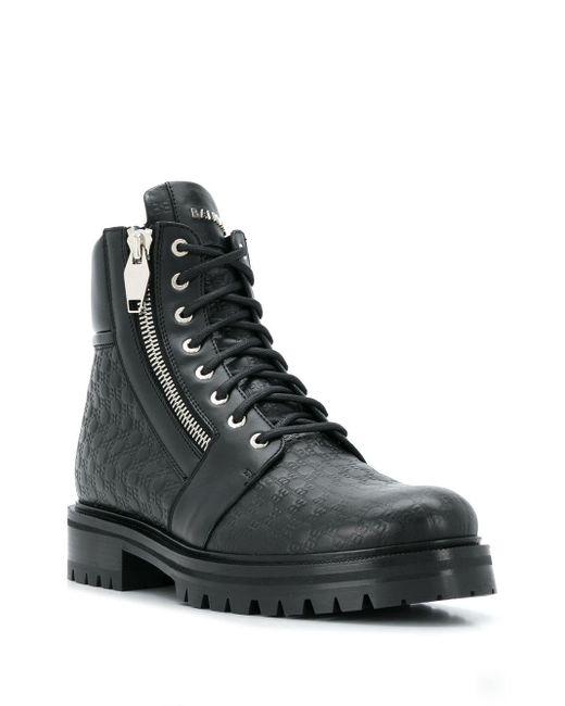 メンズ Balmain エンボスロゴ ブーツ Black