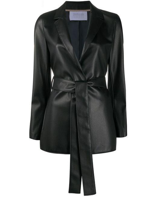 Harris Wharf London ベルテッド ノッチラペル コート Black