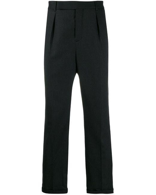 メンズ Saint Laurent ストライプ クロップドパンツ Black