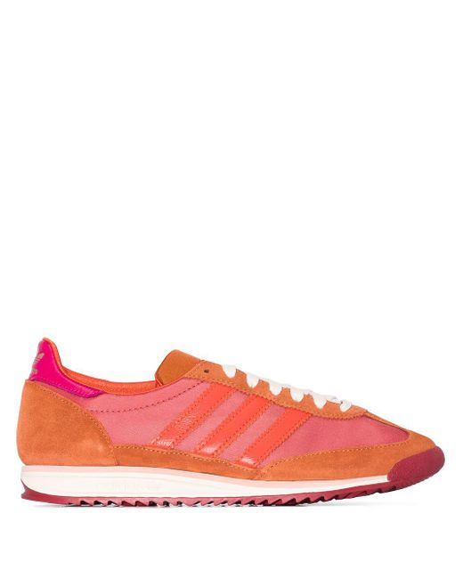 Adidas Red 3-stripes Low-top Sneakers