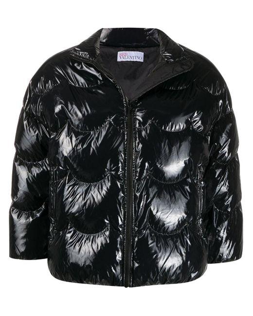 RED Valentino クロップド パデッドジャケット Black