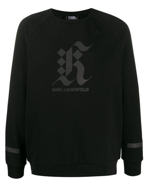 メンズ Karl Lagerfeld ロゴ スウェットシャツ Black