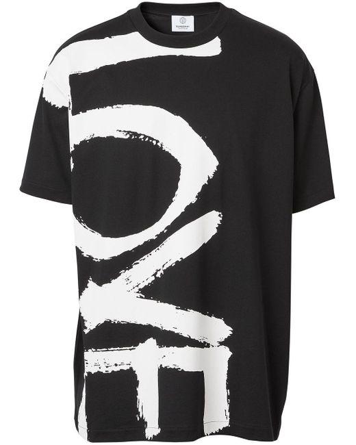 T-shirt oversize con stampa di Burberry in Black da Uomo