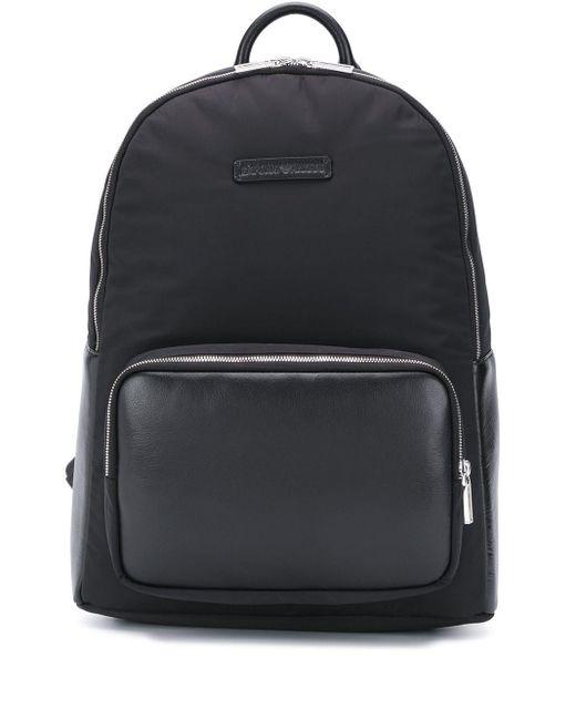 メンズ Emporio Armani ロゴパッチ バックパック Black