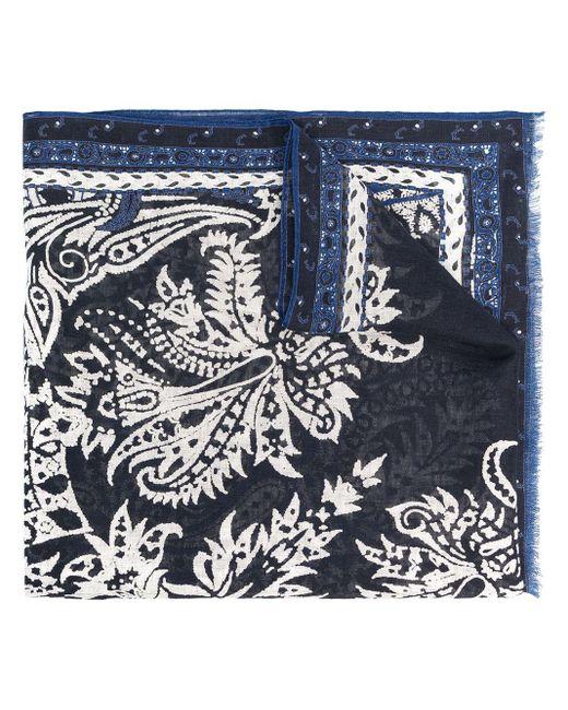 メンズ Etro ペイズリー リネンスカーフ Blue