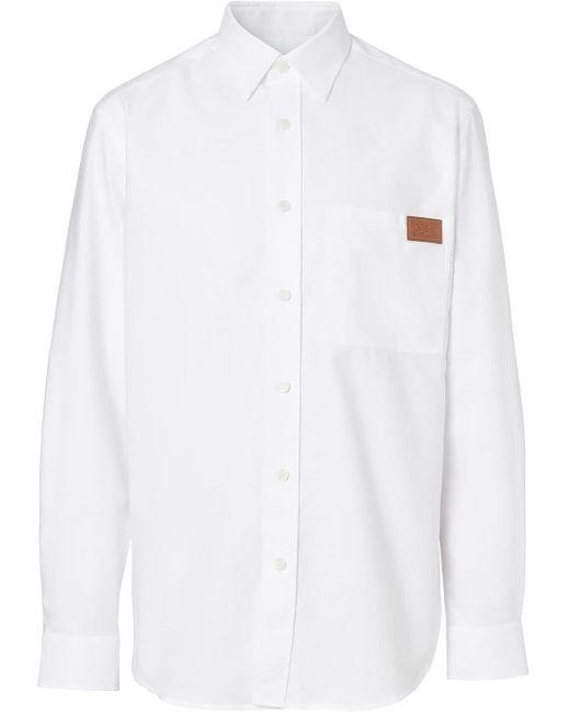 メンズ Burberry ロゴ オックスフォードシャツ White