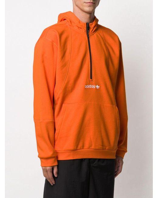 メンズ Adidas ロゴ パーカー Orange
