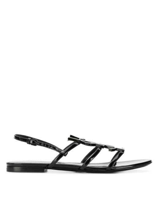 Saint Laurent Black Cassandra Patent Leather Slingback Sandals