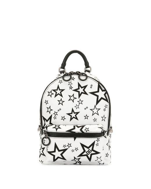 Dolce & Gabbana White Millennials Star Printed Backpack