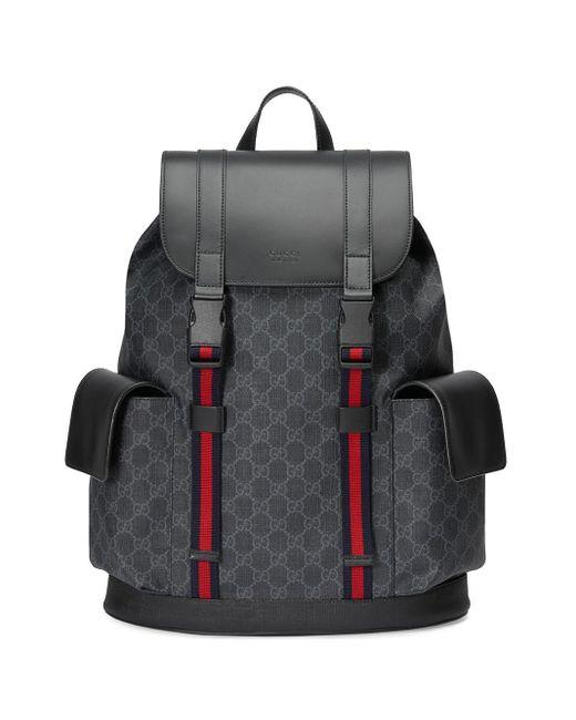 Gucci Black Soft GG Supreme Backpack for men