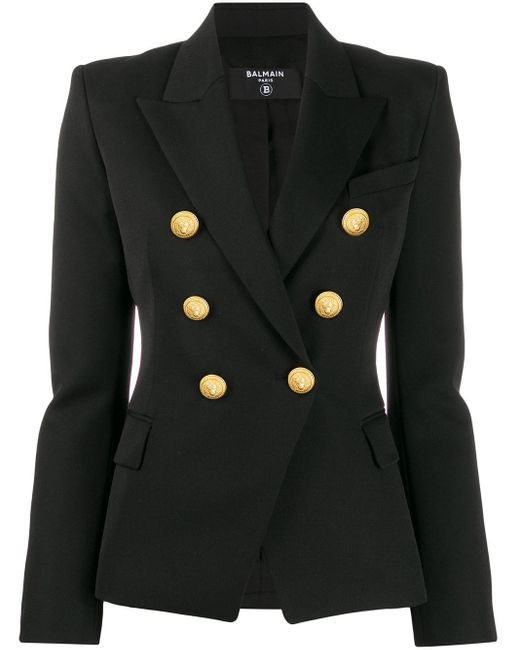 Blazer con doble botonadura Balmain de color Black