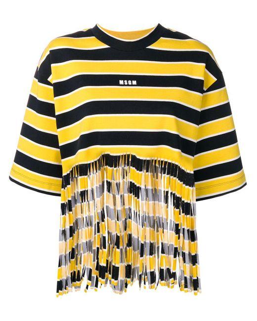 MSGM ストライプ Tシャツ Yellow