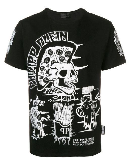 メンズ Philipp Plein グラフィック スカル Tシャツ Black