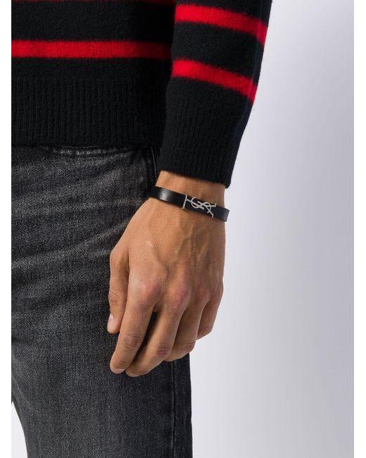 Браслет В Два Оборота Saint Laurent для него, цвет: Black