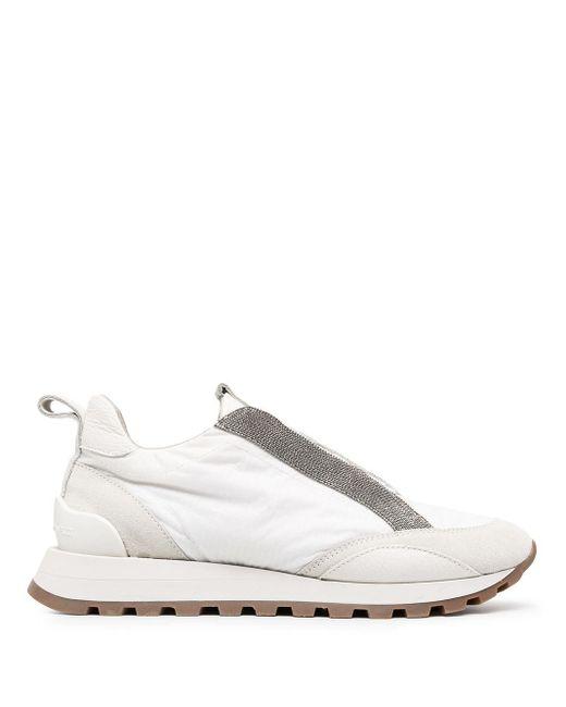 Кроссовки С Вышивкой Бисером Brunello Cucinelli, цвет: White