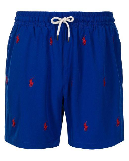 メンズ Polo Ralph Lauren ロゴ トランクス水着 Blue