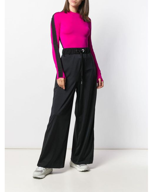 NO KA 'OI Pantalon évasé à lien de resserrage femme de coloris noir