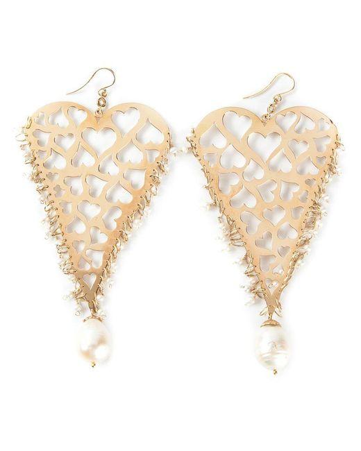 Natasha Zinko - Metallic 18kt Yellow Gold Heart Earrings - Lyst