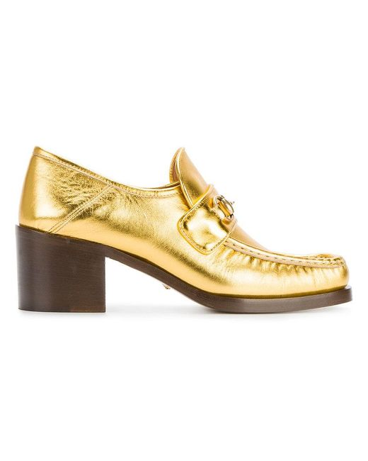 Gucci | Metallic Horsebit Leather Loafer Pumps | Lyst