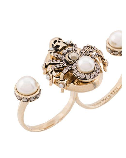 Двойное Декорированное Кольцо Alexander McQueen, цвет: Metallic