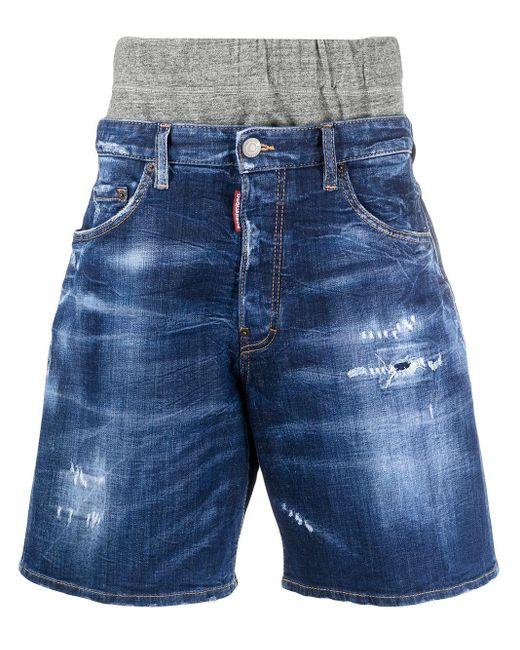 Shorts con effetto vissuto di DSquared² in Blue da Uomo