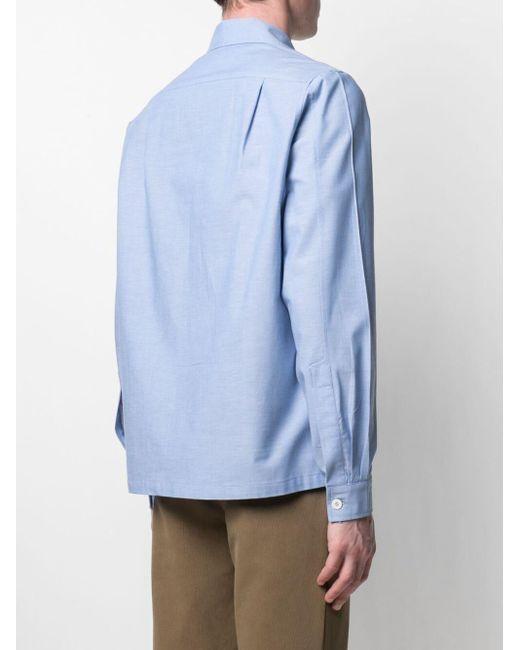 Anglozine Blue Zip-up Long-sleeved Shirt for men