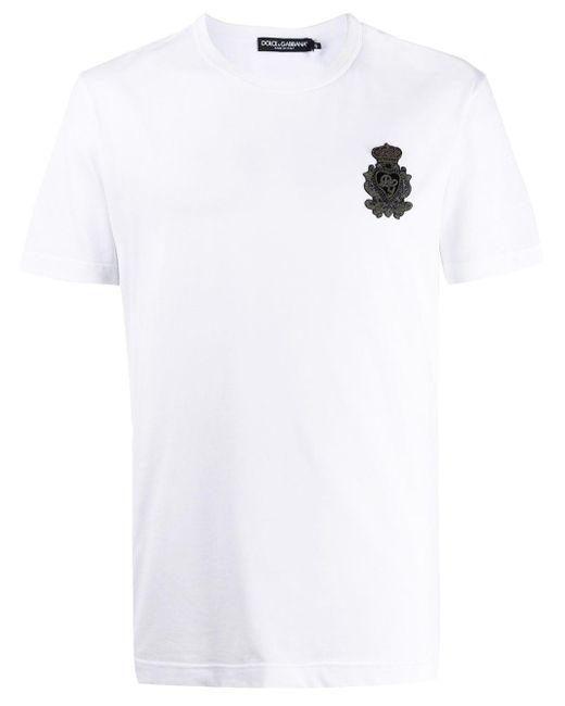 メンズ Dolce & Gabbana ロゴパッチ Tシャツ White