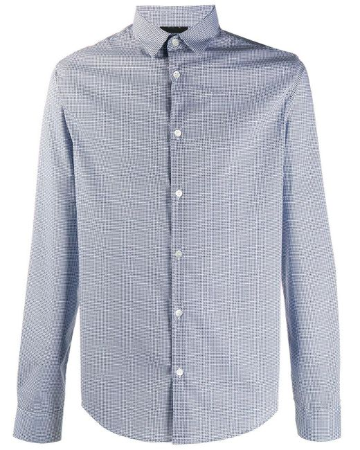 Рубашка С Геометричным Принтом Emporio Armani для него, цвет: Blue