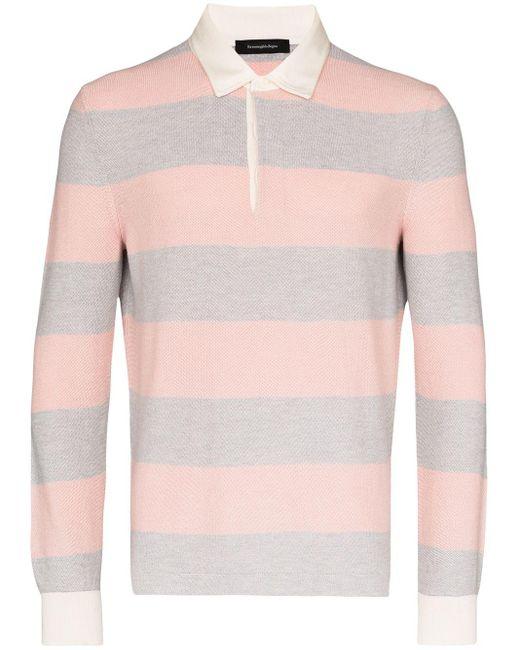 メンズ Ermenegildo Zegna ストライプ ポロシャツ Pink
