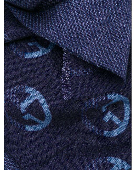 メンズ Giorgio Armani パターン スカーフ Blue