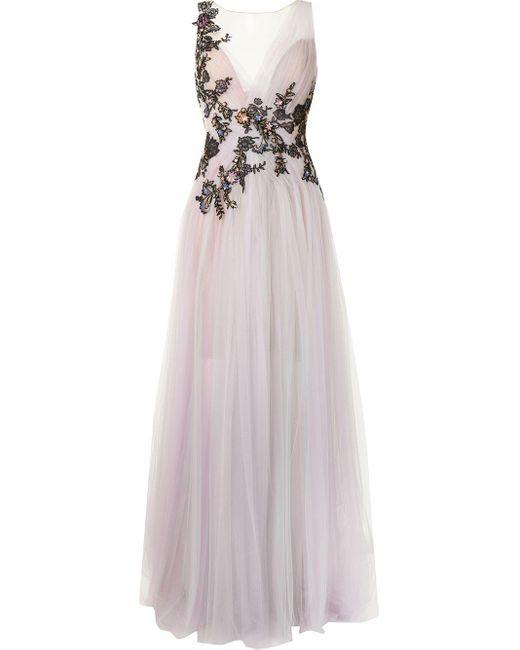 Marchesa フローラル イブニングドレス Purple