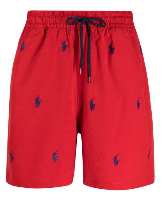 メンズ Polo Ralph Lauren ロゴ トランクス水着 Red