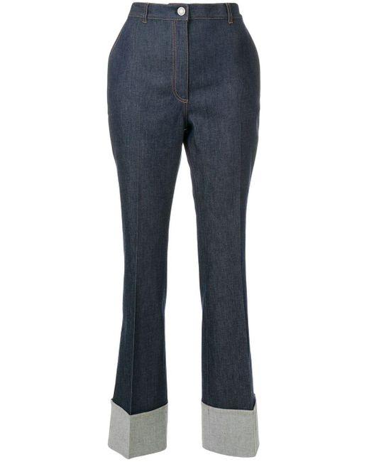 Bottega Veneta ロールアップ ブーツカットジーンズ Blue